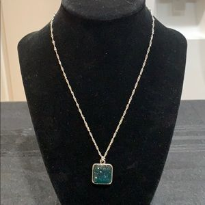 NWT Silver toned necklace with teal blue stones